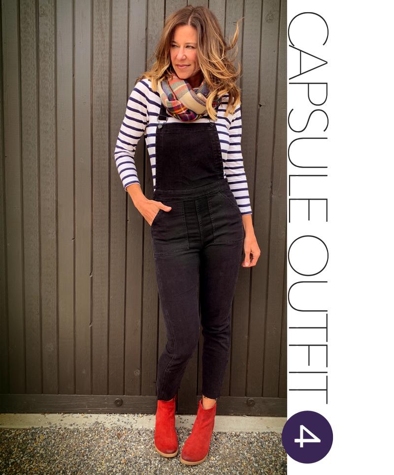 f8cd5b53e87 Madewell Skinny Overalls + J. Crew Classic Stripe Tee + Plaid Blanket Scarf  +. Matisse Butch Booties (similar Seychelles boot)